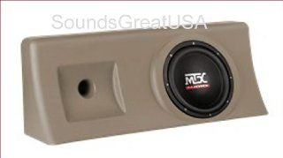 "AMPLIFIED & Loaded MTX ThunderForm for 2000 2006 Chevy 1500 & GMC Sierra Crew Cab Custom Chevrolet Sub Box Holds 10"" Subwoofer TAN"
