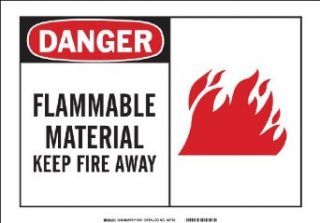 "Brady 83731 Self Sticking Polyester, 7"" X 10"" Danger Sign Legend, ""Flammable Material Keep Fire Away (W/Picto)"" Industrial Warning Signs"