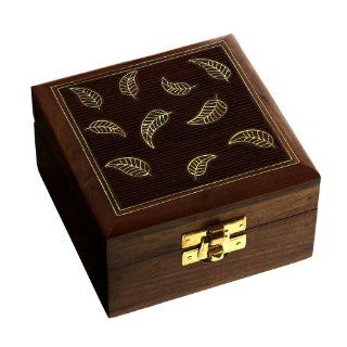 Wooden Jewelry Box for Women Leaf Decor Inlay 4x4x2.25 Inches ShalinCraft Jewelry
