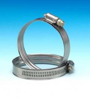 "Murray Stainless Steel Dual Bead Hose Clamp withZinc Plt Screw, 1.69"" 2.63"", 1/2""W, 35 40"" Lbs Worm Gear Hose Clamps"