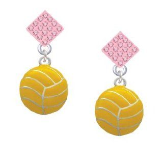 Large Water Polo Ball Light Pink Crystal Diamond Shaped Lulu Post Earrings Jewelry