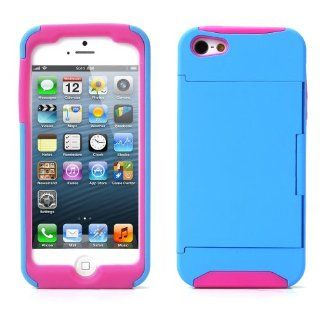Century Accessory Credit Card Hard Shell Stand Combo Case Cover For Apple iPhone 5s 5 5G Blue Cell Phones & Accessories