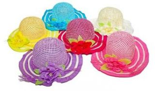 6 Hats Per Order Is Assorted Colors   6 Piece Girls Tea Party Flower Sunhats. Assorted Colors Clothing