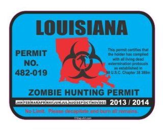 Louisiana Zombie Hunting Hunt Permit 2014/2015 funny vinyl decals bumper stickers Automotive