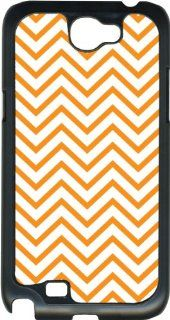 Orange Chevron Design on Samsung Galaxy Note II 2 Black Hard Case Cover Cell Phones & Accessories