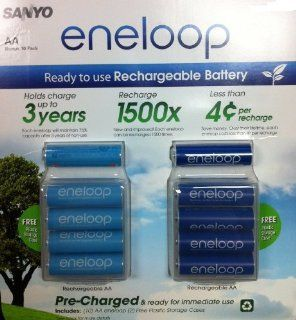 Sanyo 10 Pack AA eneloop 2nd generation 1500 cycle Rechargeable Batteries with 2 Plastic Storage Cases Electronics