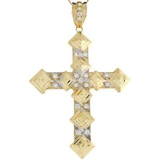 10k Two Tone Gold 7.7cm Fancy Ornate Byzantine Cross Religious CZ Pendant Jewelry
