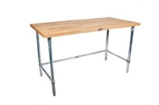 "John Boos SNB14 Maple Wood Top Stallion Work Table, Stainless Steel Legs, Adjustable Bracing, 1 3/4"" Thick, 48"" Length x 36"" Width Commercial Work Tables"