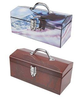 Sainty International 24 516 Flying Free Above Clouds and Western Cowboy Art Deco Tool Box   Toolboxes