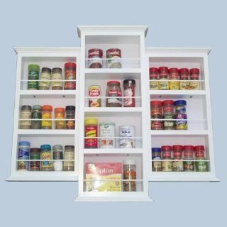 (SR 118) Wall mount or surface mounted 21 inch Kitchen Spice Rack holder, Solid Wood, accommodates multiple size bottles. Enamel finish or stain finish in your color choice, or unfinished also (DOES NOT GO IN THE WALL)   Door Mounted Spice Rack