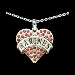 From the Heart Valentine's Day, Mother's Day, or any Day Red Crystal Rhinestone Heart Necklace celebrating The USA Marines Pendant with Marines engraved in the center. Heart Pendant is approximately 1 1/2 inch long & embellished with Red Crys
