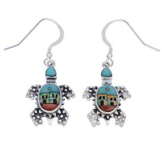 Multicolor Native American Village Design Turtle Earrings EX32307 SilverTribe Jewelry