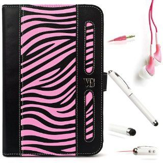 BLACK and PINK Zebra VanGoddy Dauphine Lightweight, Durable Executive Leather Portfolio Jacket Cover Case For Visual Land Prestige 7 Internet Tablet 7 inch Android 4.0 Multi Touch Screen Tab (Also Fits Prestige 7L ) + PINK Crystal Clear High Quality HD Noi