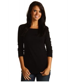 Red Dot Cotton Knits 3/4 Sleeve British Tee Womens T Shirt (Black)