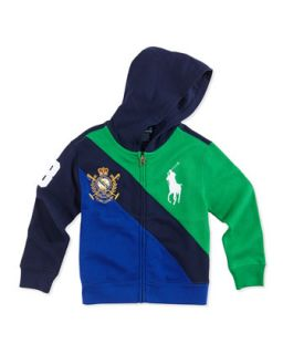 Big Pony Colorblock Full Zip Hoodie, Navy Multi, Boys 4 7   Ralph Lauren