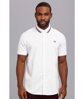 Fred Perry Knitted Collar Polka Dot S/S Shirt Mens Short Sleeve Pullover (White)