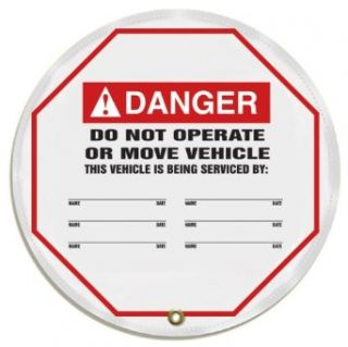 "Accuform Signs KDD718 Vinyl Steering Wheel Message Cover, Legend ""Danger, DO NOT OPERATE OR MOVE VEHICLE THIS VEHICLE IS BEING SERVICED BY"", 16"" Diameter, Black/Red on White Industrial Warning Signs"
