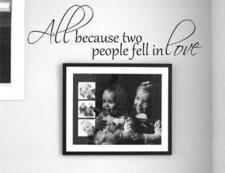 All Because Two People Fell In Love   Wall Decal Love Words Expressions Sayings Quotes Typography (Black, Medium)   Wall Docor Stickers