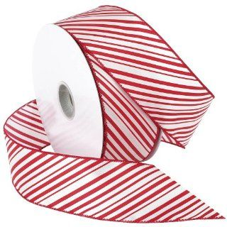 Morex Ribbon 2 1/2 Inch Wide by 50 Yard Spool Peppermint Stripe Wired Ribbon, Red/White