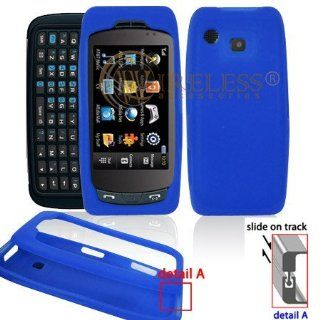 Dark Blue Transparent Silicone Skin Cover Case Cell Phone Protector for Samsung Impression A877 [Beyond Cell Packaging] Electronics