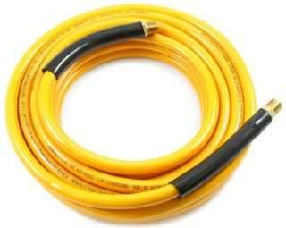Forney 75406 Air Hose, Yellow PVC with 1/4 Inch Male NPT Fittings On Both Ends, 1/4 Inch by 25 Feet   Air Tool Hoses