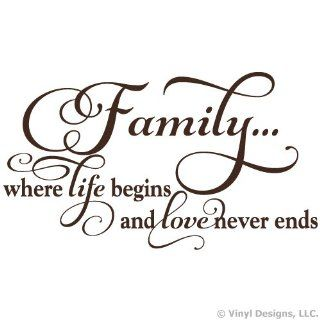 Family Where Life Begins and Love Never Ends Quote Vinyl Wall Decal Sticker Art, Home Decor, Brown