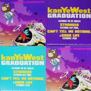 Kanye West   Graduation   Two Sided Poster   New   Rare   Kanye Omari West   Can't Tell Me Nothing   Stronger   Flashing Lights   Good Life   The Glory   T Pain   Lil Wayne   Mos Def   Artwork