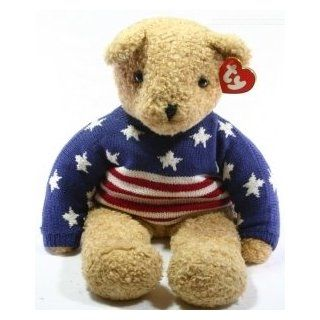 Rare Curly Large 24 Inch Teddy Bear   Ty Classic Plush Collection With Patriotic Sweater   Stars & Stripes Toys & Games