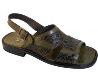 Men's Davinci Italian Leather Open Toe with back Strap, Sandal 1984 Two Tone Olive Green Size 42 Shoes