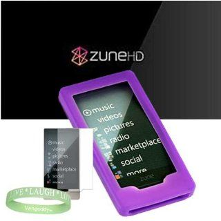 Microsoft Zune HD 16GB, 32GB & Microsoft Zune HD Accessories bundle containing Premium **PURPLE** Silicon Skin Case Cover + Microsoft Zune HD Screen Protector + Live*Laugh*Love Silicone Wrist Band   Players & Accessories