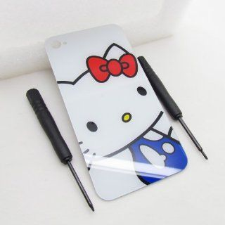 [Only Fit 4s] 4s White Hello Kitty Pattern Back Glass Replacement Battery Cover Housing Complete Rear Door without Diffuser Free Screwdrivers and Easy Install,only for Iphone 4s(Not fit any iphone 4) (Free Newlifestart Back Case) Cell Phones & Access