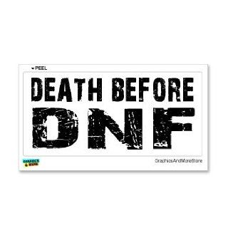Death Before DNF   Did Not Finish   Triathlon Marathon   Window Bumper Laptop Sticker Automotive