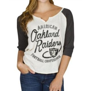 Junk Food Oakland Raiders Ladies Rookie Raglan Tri Blend T Shirt   White/Charcoal
