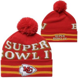New Era Kansas City Chiefs Super Bowl IV Commemorative Super Wide Point Knit Beanie   Red/Gold