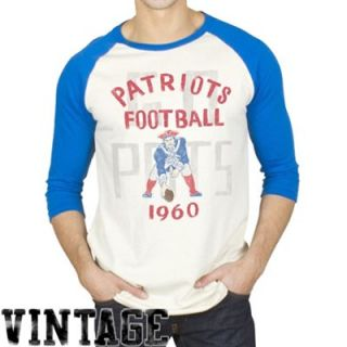 Junk Food New England Patriots Rookie Raglan Quarter Sleeve T Shirt   Tan/Royal Blue