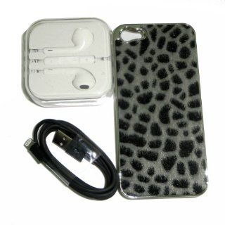 Ayangyang Gray Color Leopard Grain Case for Iphone 5 + 1m Black Date Cabe Charger Cable for Iphone 5 + White Ear Phone for Iphone 5 Cell Phones & Accessories