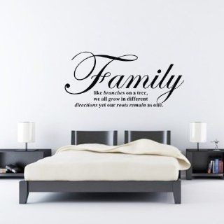 "FAMILY LIKE BRANCHES ON A TREE WE ALL GROW IN DIFFERENT DIRECTIONS YET OUR ROOTS REMAIN AS ONE Wall Decal Sticker Black   Size 16.3"" H x 24.5"" W   Wall Decor Stickers"