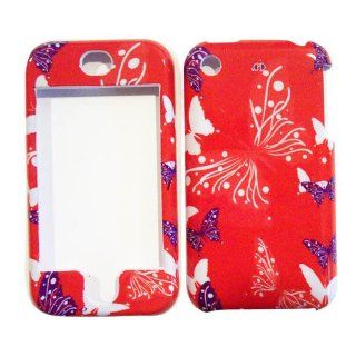 Hard Plastic Snap on Cover Fits Apple iPhone Butterfly Dot/Hot Pink AT&T (does NOT fit Apple iPhone 3G/3GS or iPhone 4/4S or iPhone 5/5S/5C) Cell Phones & Accessories
