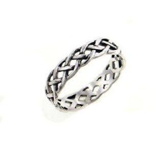 Narrow 4mm Neverending Celtic Knot Sterling Silver Pinky Ring(Sizes 3, 4, 5, 6, 7, 8, 9, 10, 11, 12, 13, 14, 15, 16) Bands Jewelry