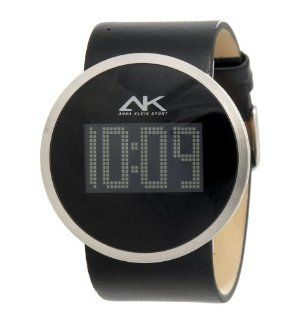 Anne Klein Women's 108927BKBK Silver Tone Digital Black Leather Watch Watches