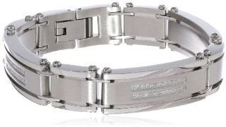 "Men's Stainless Steel Double Row Bracelet (1/4 cttw), 8"" Jewelry"