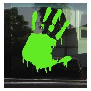 "BLOODY ZOMBIE HAND PRINT(Left Hand)   5"" LIME GREEN   Vinyl Decal WINDOW Sticker   NOTEBOOK, LAPTOP, WALL, WINDOWS, ETC. Automotive"