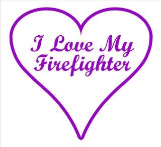 "Firefighter Decals, I Love My Firefighter Heart Decal Sticker Laptop, Notebook, Window, Car, Bumper, EtcStickers 4.3""x4""in. in PURPLE Exterior Window Sticker with"