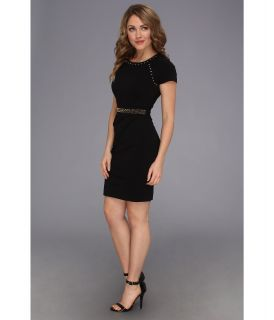 Abs Allen Schwartz Studded Ponte Sheath Dress Black