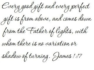 Every good gift and every perfect gift is from above, and comes down from the Father of lights, with whom there is no variation or shadow of turning. James 117   Wall and home scripture, lettering, quotes, images, stickers, decals, art, and more Everyth