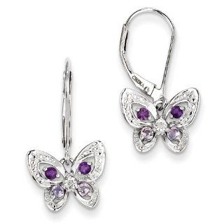 Gold and Watches Sterling Silver Amethyst, Pink Amethyst & Diamond Butterfly Earrings Jewelry