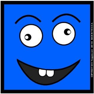 "SQUARE CRAZY HAPPY FACE   BLUE   STICK ON CAR DECAL SIZE 3 1/2"" x 3 1/2""   VINYL DECAL WINDOW STICKER   NOTEBOOK, LAPTOP, WALL, WINDOWS, ETC. COOL BUMPERSTICKER   Automotive Decals"