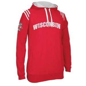 adidas College 3 Stripe Pullover Hoodie   Mens   Basketball   Clothing   Wisconsin Badgers   University Red