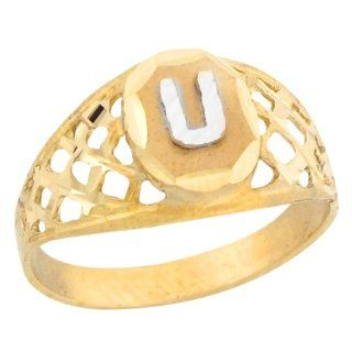 10k Two Tone Gold Diamond Cut Filigree Design Letter U Initial Ring Jewelry
