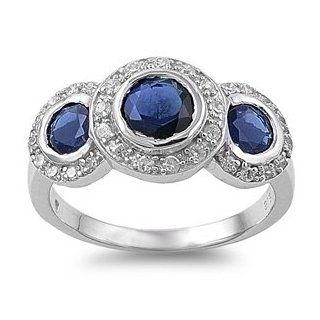 Sterling Silver Three Stone Antique Style Blue Sapphire Cubic Zirconia Ring   size10 Jewelry